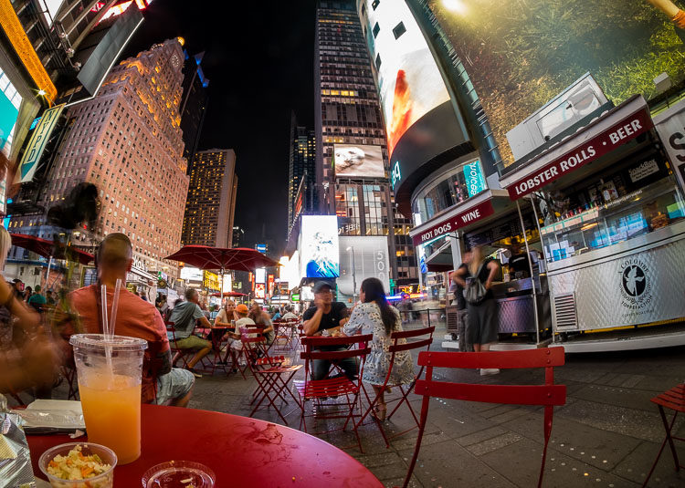 This is another part of NYC - eating! I pretty much ate my way around the city. Here are are having pulled pork and coleslaw in Times Square.