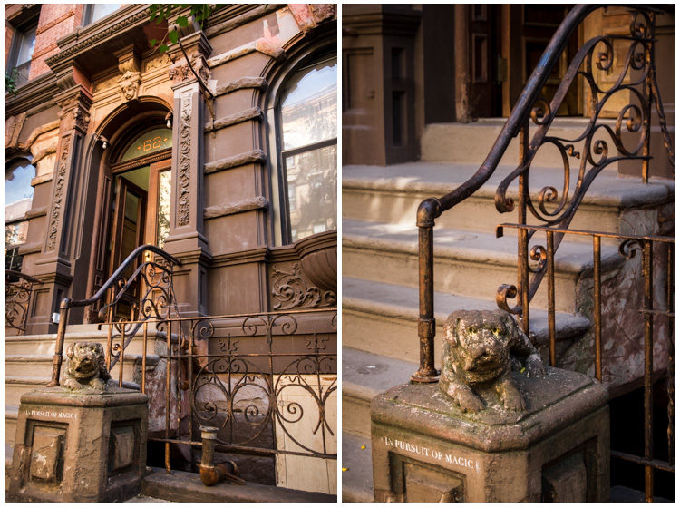 I love these classic brownstone buildings. Notice the message under the watch dog!