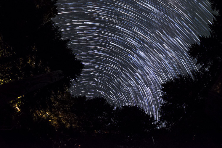 I created this star trails image by using 92 images shot over a span of almost an hour, and a free program called StarStax.