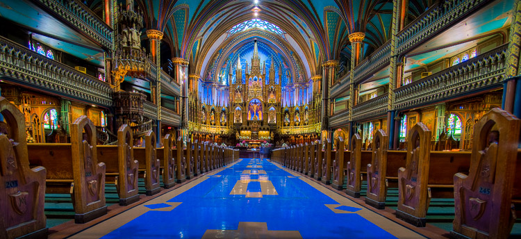A normal amount of color saturation in a colorful subject (Montreal's Notre-Dame Basilica).