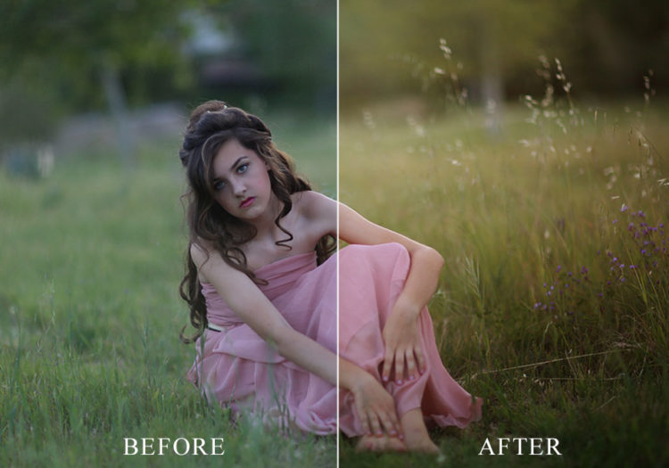 a before an after example of how the texture overlays work