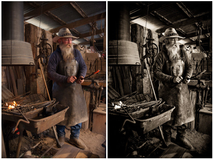 The black and white with split tone in sepia (browns) transforms this image of a blacksmith into an antique looking photo.