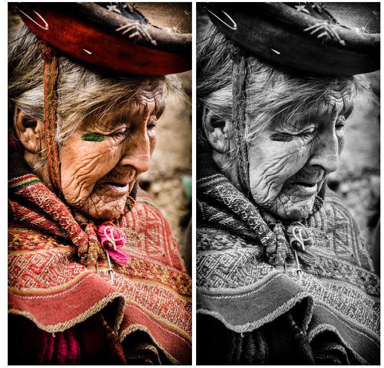 Same here with this lovely Peruvian lady. Her red shawl and outfit are great but I wanted focus on her face and her character. I think that shows more in the black and white version.