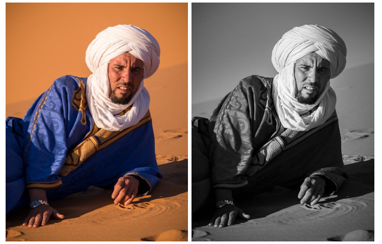 By converting this image to black and white in Lightroom I could darken his blue robe and lighten the orange sand and his face. Otherwise in a pure desaturation they'd be the same tone.