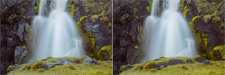circulal polarizing filter example for waterfall photography
