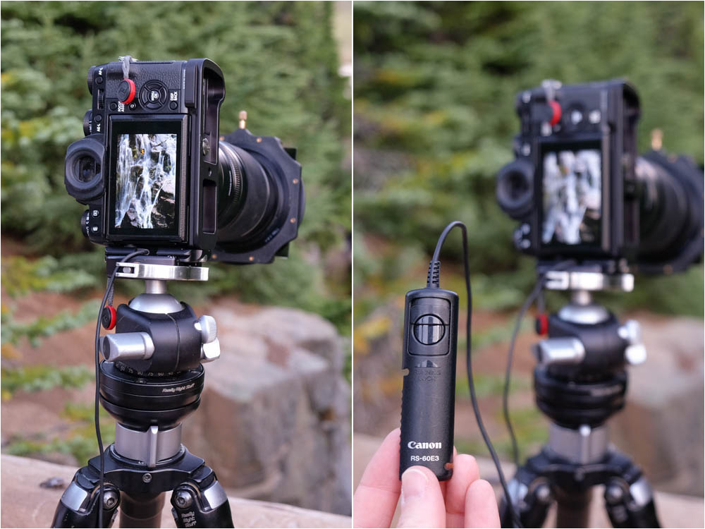 two cameras on tripods showing two different cable release systems