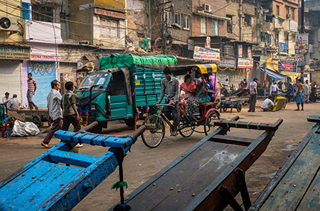 Street scene around the spice market and the Chandni Chowk area in Old Delhi.