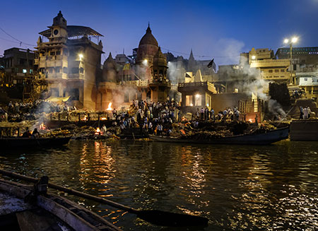 Cremation in progess at the Manikarnika Ghat. This is is one of the oldest ghats in Varanasi, and most known for being the primary place for Hindu cremations.