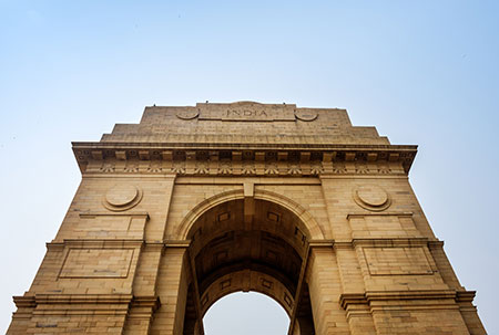 The India Gate, a popular tourist attraction in New Delhi.