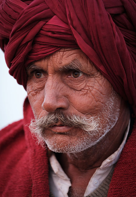 Portrait of a Rajasthani farmer at Pushkar Camel Fair