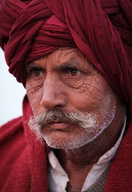 Portrait of a Rajasthani farmer at Pushkar Camel Fair