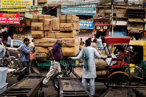 Street around the spice market and the Chandni Chowk area in Old Delhi.