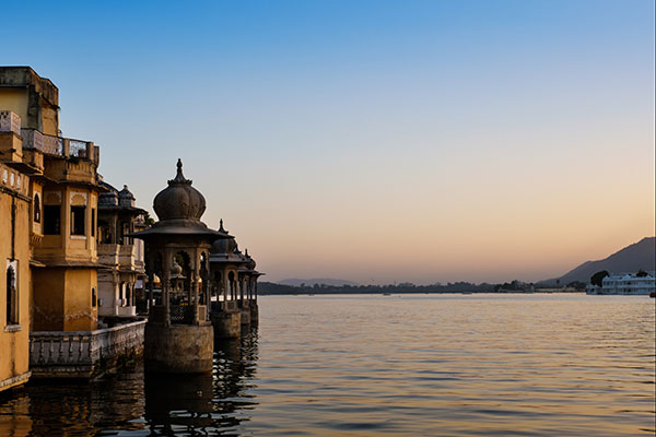 Lake Pichola at sunset in Udaipur India