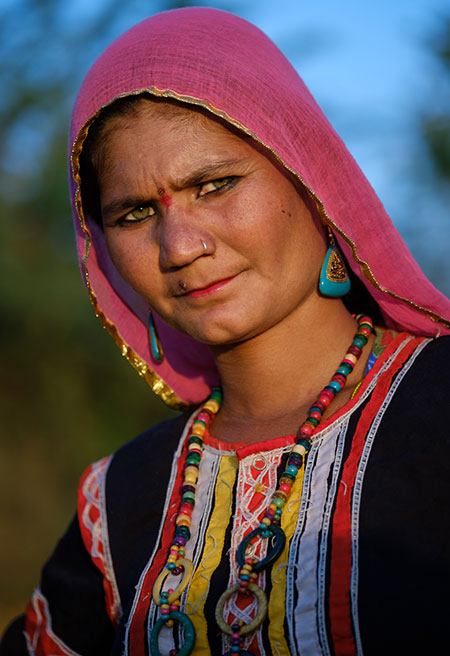 Portrait of Indian Woman in colorful clothes