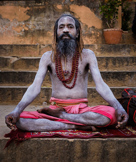 Portrait of a Sadhu in Varanasi. The Sadhus or Holy Man are widely respected in India. Varanasi is the spiritual capital of India, the holiest of the seven sacred cities and with that one the most frequented places for Sadhus.