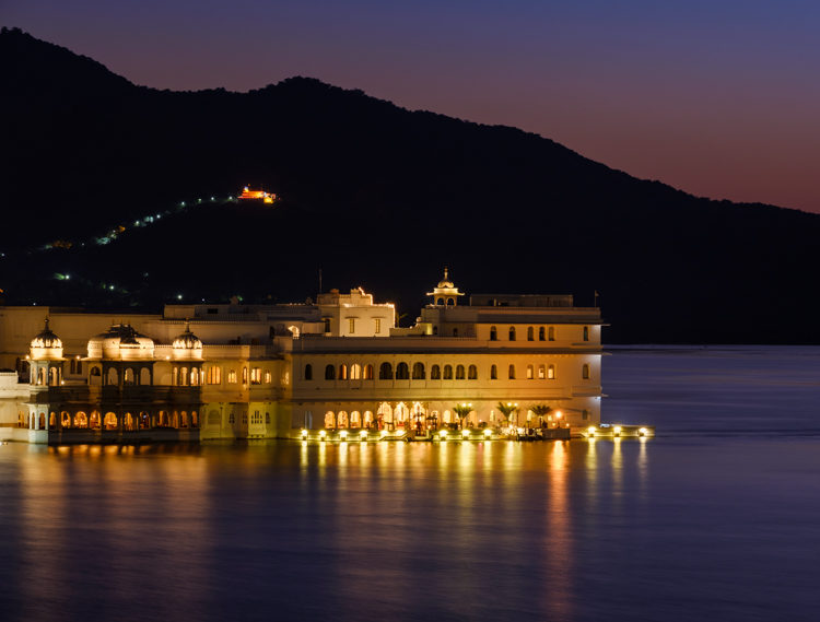 Lake Palace Hotel at blue hour Udaipur India
