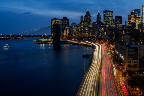 long exposure photography example showing car trails at night in New York City