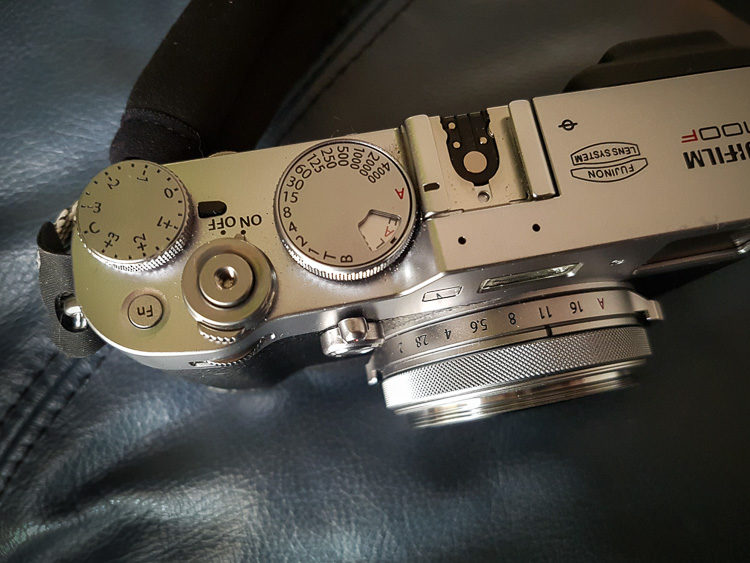 fujifilm x100f camera showing how the smaller dials could be troublesome for people with large hands