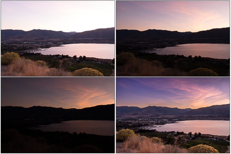 the three images shot at different exposures that were combined to make the final HDR image