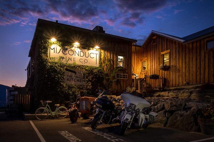 HDR photo of Miscondut Wine co building with motocycles in front