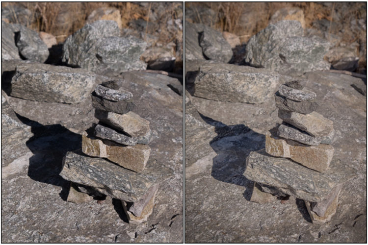side by side example of same image with prominent shadows and lightened shadows