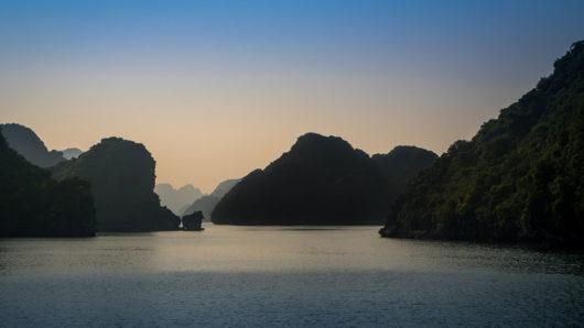 Blue hour photo of Halong Bay Vietnam