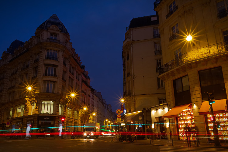 Photo of a Paris street scene with light trails as processed with Afinity photo editing software