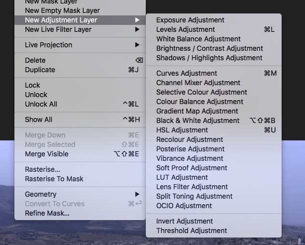 screenshot showing Affinity photo editing software adjustment layer options