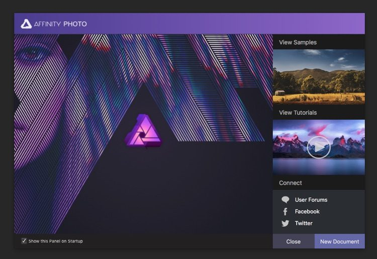affinity photo editor opening screen