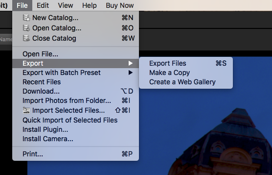 Corel AfterShot Pro3 export menu screenshot