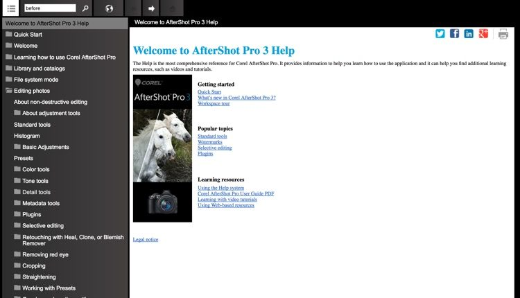 Corel AfterShot Pro3 help and support interface