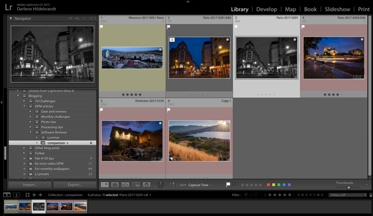 screenshot of Adobe Lightroom develop module for sorting rating and tagging images