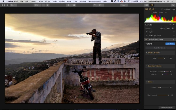 screenshot of Luminar photo editing software interface