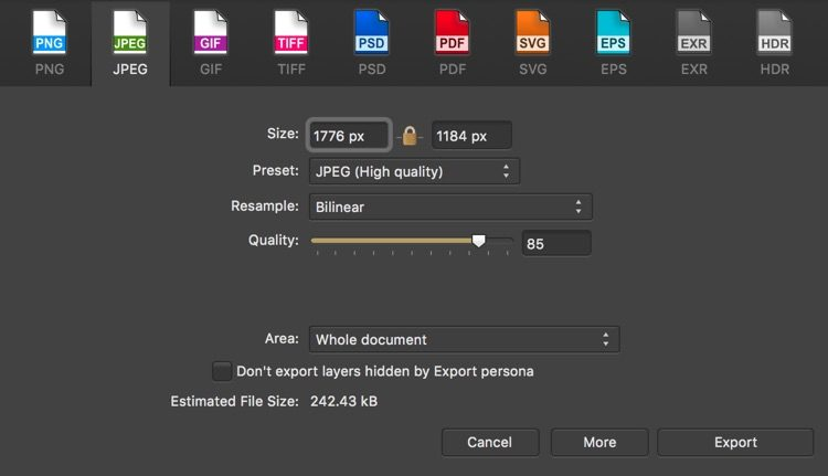 export dialog box for Affinity photography software