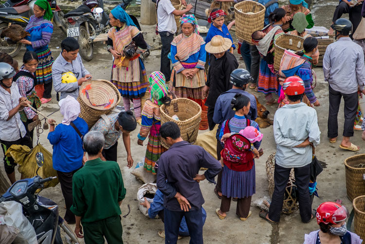 BAC HA, VIETNAM - Crowd bargaining and trading livestock Bac Ha Sunday market, the biggest minority people market in Northern Vietnam