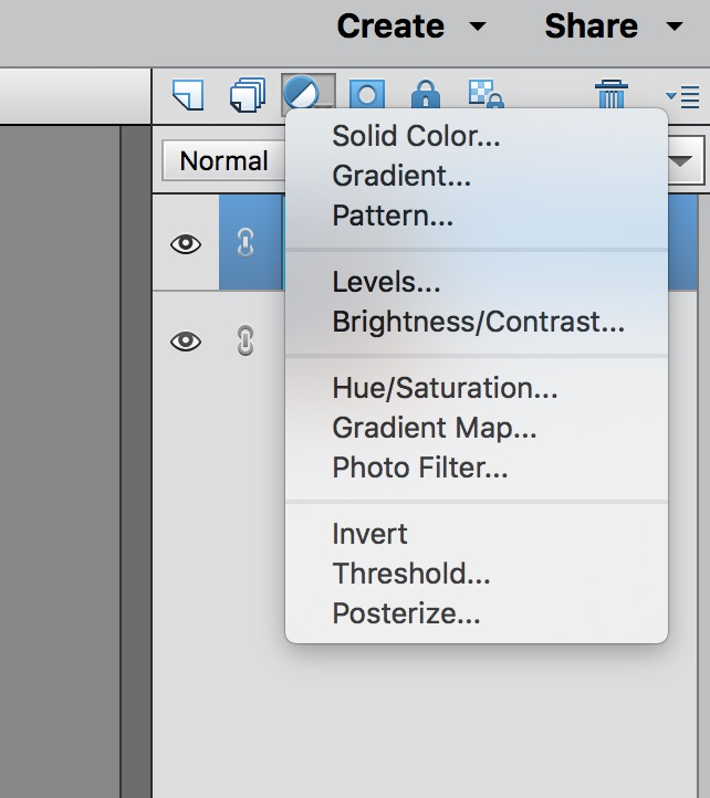 screenshot of the adjustment layer options
