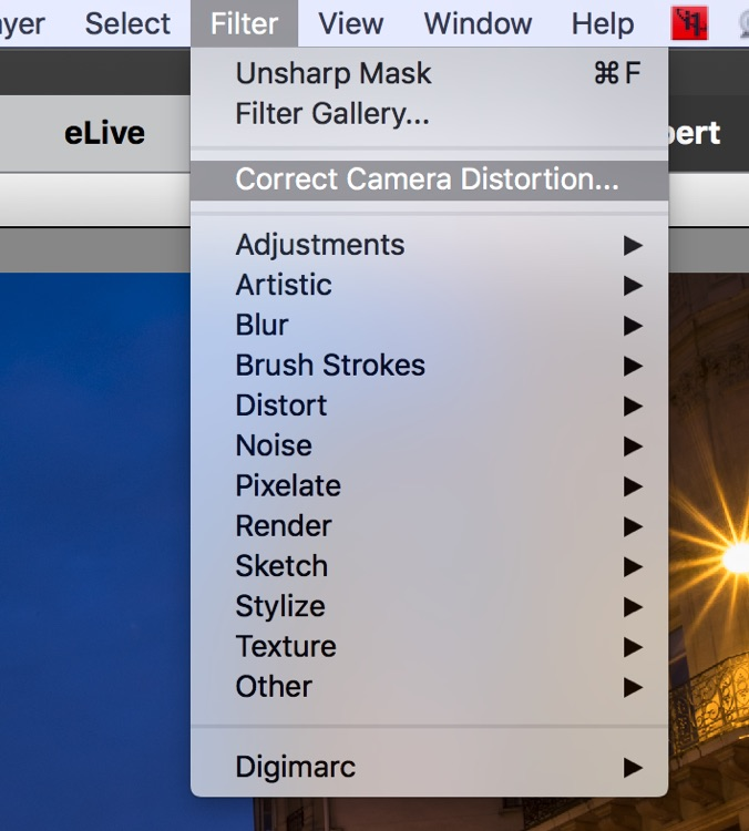 screenshot of elements filter menu showing where the lens correction function is