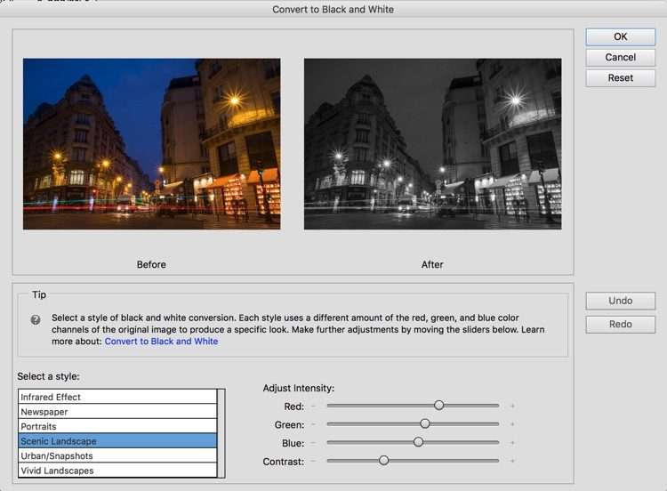 screenshot of the black and white conversion dialog box