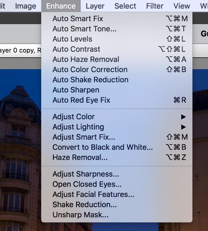 screenshot of the enhance menu