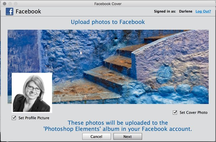 screenshot of Elements upload to facebook option