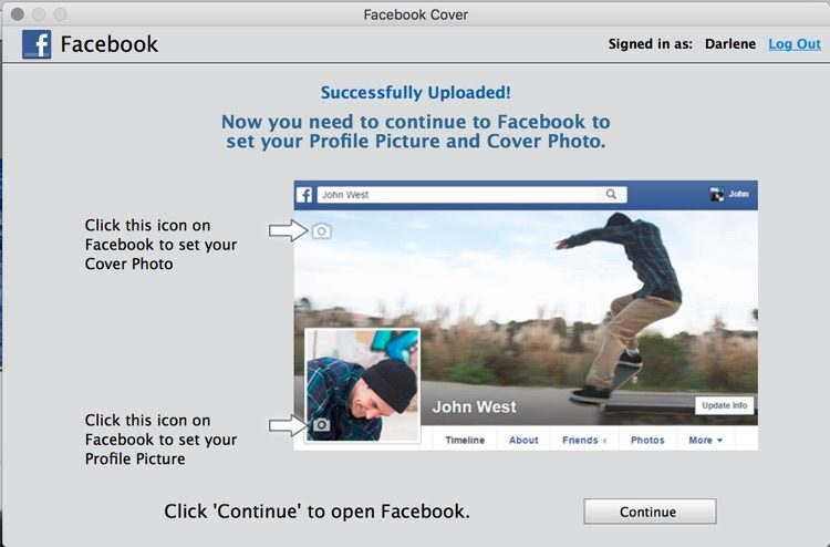screenshot of Adobe Photoshop Elements save to facebook success dialog
