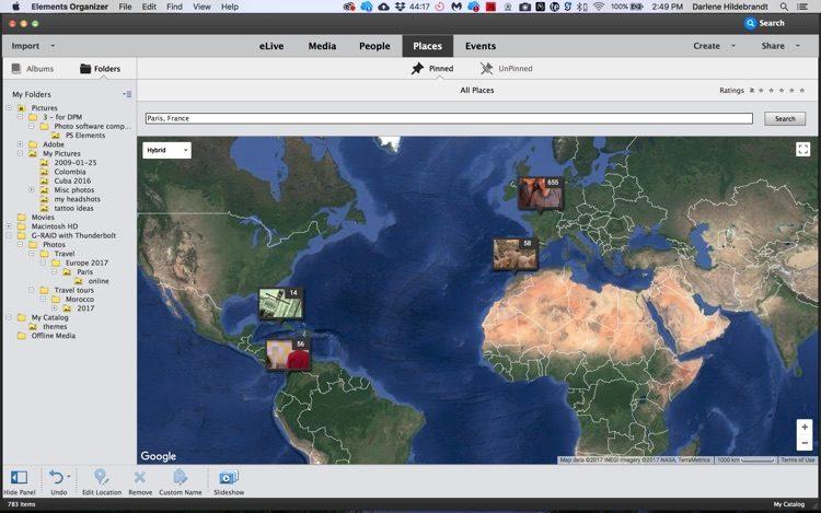 elements organizer map feature screenshot