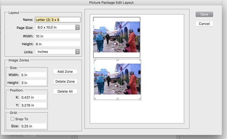 screenshot of picture package dialog box