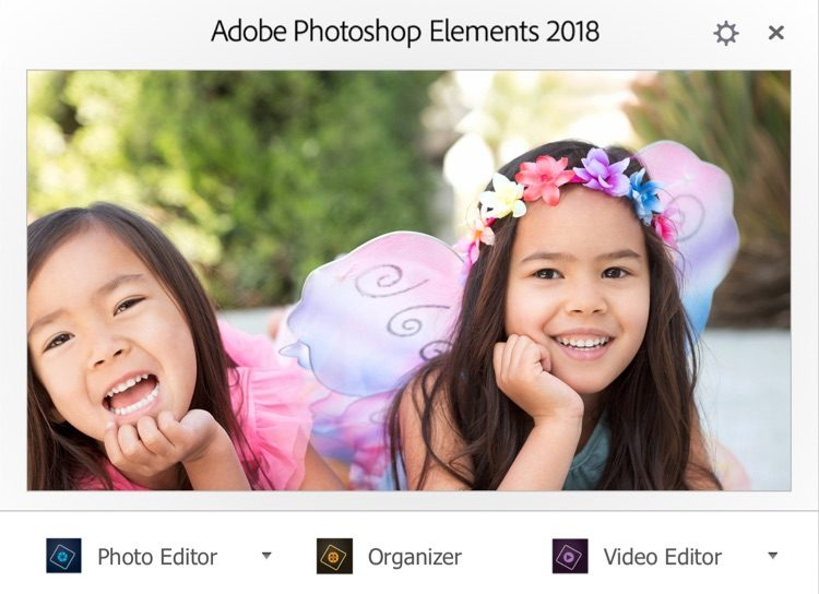 adobe elements splash screen showing image processing options