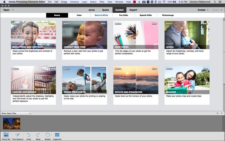 adobe elements guided workspace screenshot