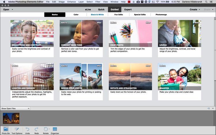 adobe elements guided workspace screenshot