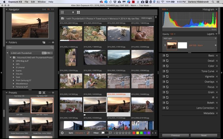 Browser window screenshot for Exposure X3 photo editing softwarew