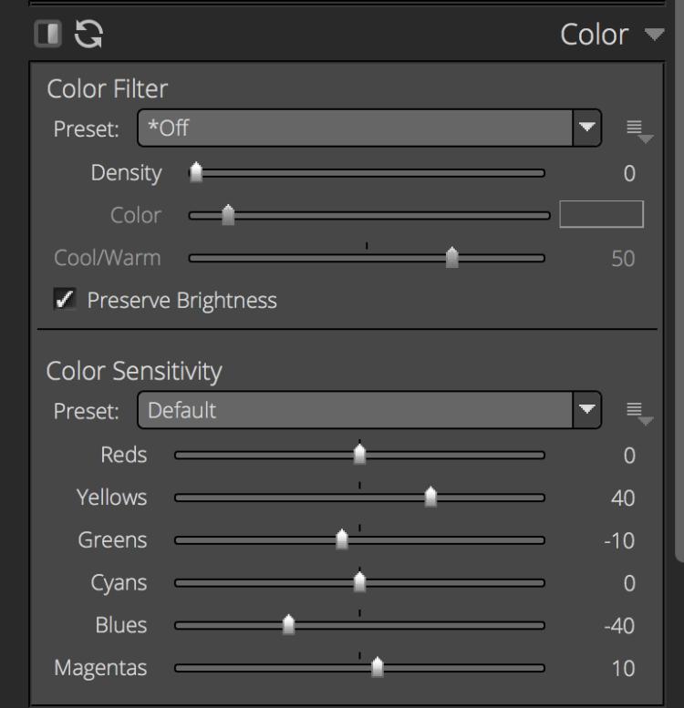 Exposure X3 Color panel screenshot