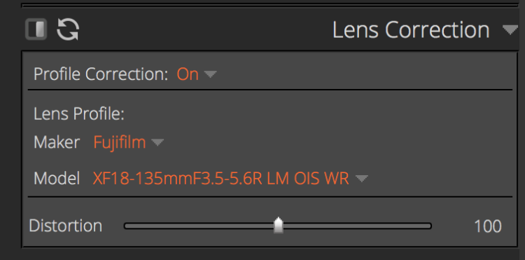 screenshot of the Exposure X3 lens correction panel