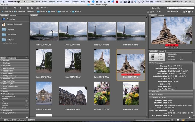 screenshot of Adobe Bridge showing a flagged image and image rating feature